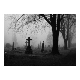 Photography for SALE - Cemetery Fog 1 Prints Poster