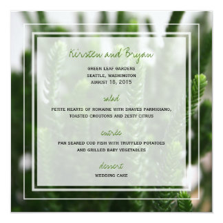 Photography Green Grass Nature Photo Wedding Menu Card