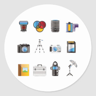 Photography Icon Classic Round Sticker