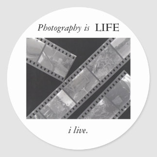 'Photography is LIFE' sticker, small Classic Round Sticker