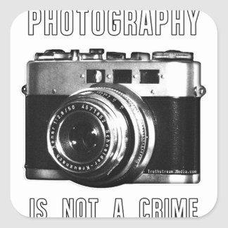 Photography is not a crime. square sticker