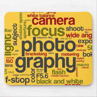 Photography Lingo Text Collage Mouse Pad