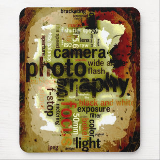 Photography Lingo Text Distressed Design Collage Mouse Pad