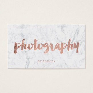 Photography modern rose gold typography marble business card