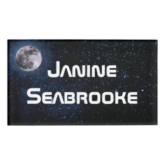Photography - Night Sky with Full Moon + your idea Name Tag