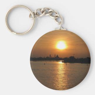 Photography of Romantic Venice Sunset Basic Round Button Keychain