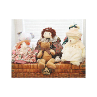 Photography of Vintage Toys, Bears, Rabbit, Doll Canvas Print