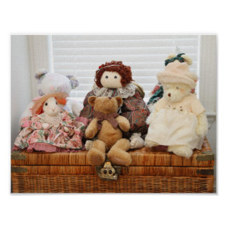 Photography of Vintage Toys, Bears, Rabbit, Doll Poster
