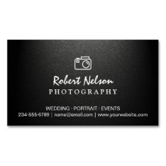 Photography Photographer Camera Simple Matte Black Magnetic Business Card at Zazzle