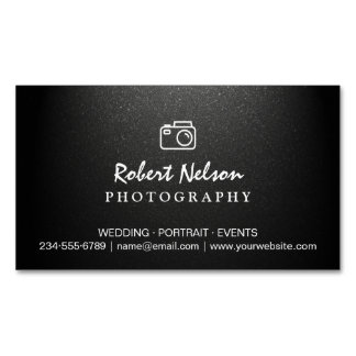 Photography Photographer Camera Simple Matte Black Magnetic Business Cards (Pack Of 25)