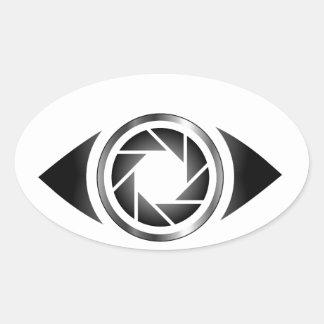 Photography shutter in a eye oval sticker