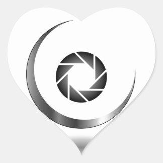 Photography shutter with a crescent moon heart sticker