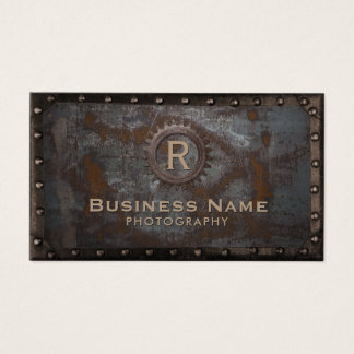 Photography Vintage Monogram Rusty Metal Business Card