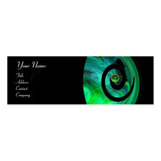 PHOTON SWIRL GEM MONOGRAM black  green Mini Business Card