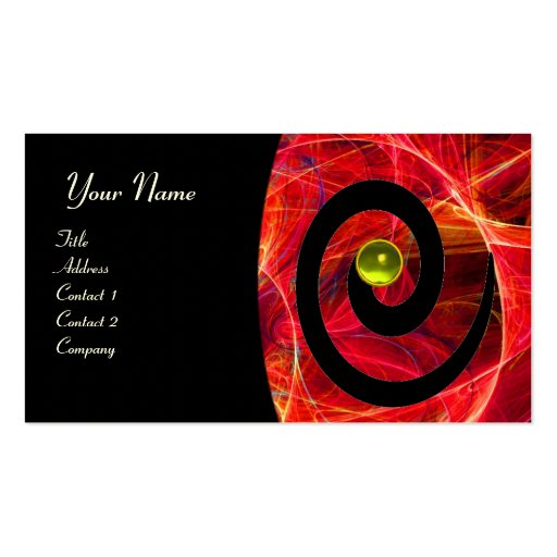 PHOTON SWIRL GEM MONOGRAM black red yellow Double-Sided Standard Business Cards (Pack Of 100)