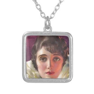 photoplay magazine cover pre 1923 square pendant necklace