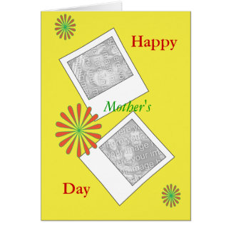 Photos and Red Flowers Mothers Day Card