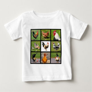 Photos mosaic of roosters and hens baby T-Shirt