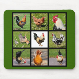 Photos mosaic of roosters and hens mouse pad