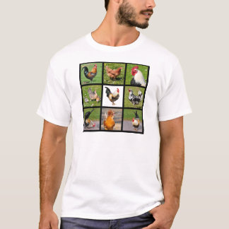 Photos mosaic of roosters and hens T-Shirt