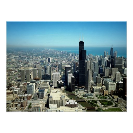 Photos of Chicago: Aerial view skyline Posters