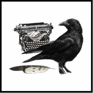 Photosculpture del cuervo del escritor fotoescultura vertical