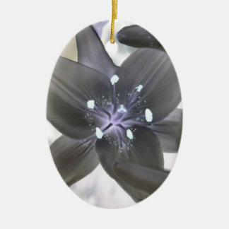 Photoshopped lily in solor mode ceramic ornament