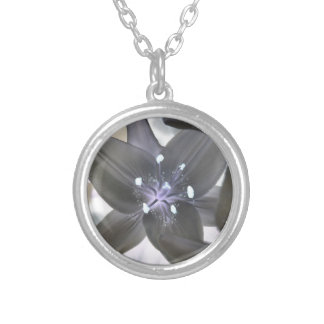 Photoshopped lily in solor mode personalized necklace