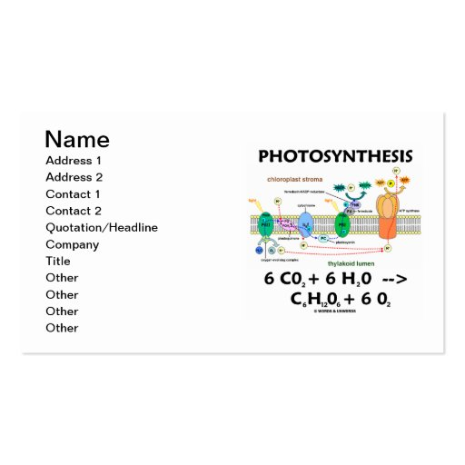 Photosynthesis (Chemical Formula) Business Card Template