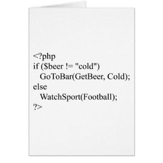 php & beer greeting card