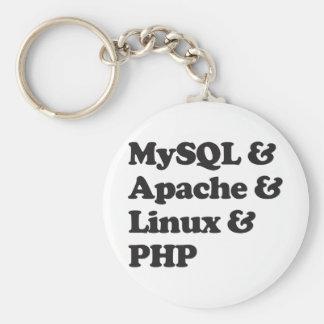 PHP de Mysql Apache Linux Llavero Redondo Tipo Pin
