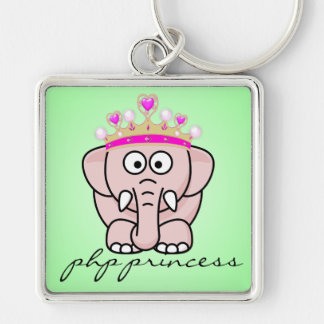 PHP Princess: Women in Open Source Web Development Silver-Colored Square Keychain