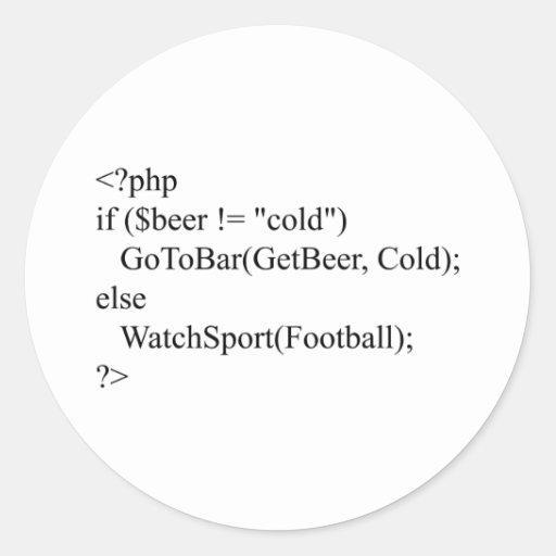 PHP y cerveza Pegatina Redonda