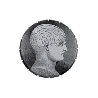 Phrenology Head Diagram Candy Tin