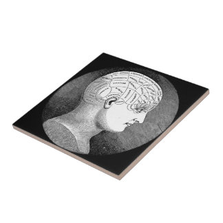 Phrenology Head Diagram Ceramic Tile