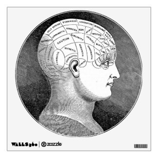 Phrenology Head Diagram Wall Sticker