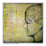Phrenology Skull 3  Vintage Eye Poster