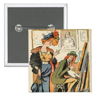 Phryne: caricatura del modelo de un artista pin cuadrado