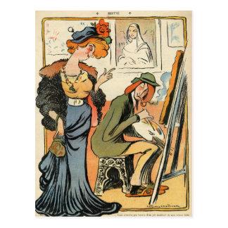Phryne: caricatura del modelo de un artista tarjeta postal