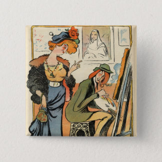 Phryne: caricature of an artist's model pinback button