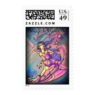 Phsychadelic Shooting Star Postage Stamp