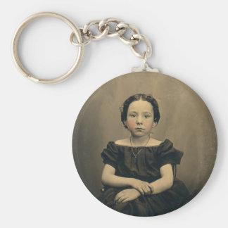 Phtograph viejo de un chica del Victorian Llavero Redondo Tipo Pin