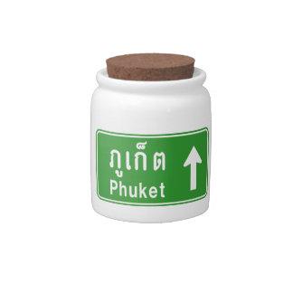 Phuket Ahead ⚠ Thai Highway Traffic Sign ⚠ Candy Dish