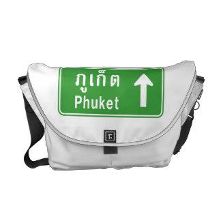 Phuket Ahead ⚠ Thai Highway Traffic Sign ⚠ Messenger Bag