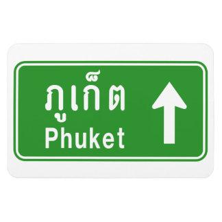 Phuket Ahead ⚠ Thai Highway Traffic Sign ⚠ Rectangular Photo Magnet