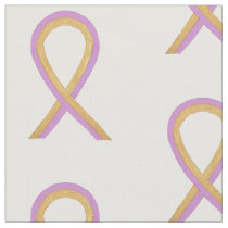 Phyllodes Tumor Pink & Gold Cancer Ribbon Fabric