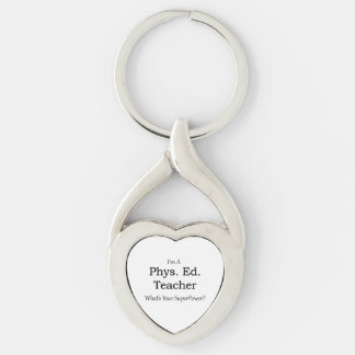 Phys. Ed. Teacher Silver-Colored Heart-Shaped Metal Keychain