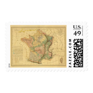 Physical and mineralogical map of France Postage Stamp