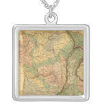 Physical and mineralogical map of France Square Pendant Necklace