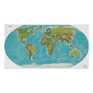 Physical and Political World Map Poster
